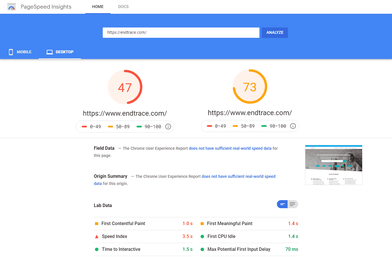 website performance score on mobile and Desktop